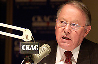 March 7th, 2002, Montreal, Quebec, Canada; <br /> <br /> Bernard Landry, Quebec Premier and Leader of the (separatist) Parti Quebecois talk with auditors about the Parti Quebecois decline in popularity, on CKAC radio station, March 7th 2002 in Montreal, Canada