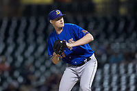 Durham Bulls relief pitcher Peter Fairbanks (29) in action against the Charlotte Knights at BB&T BallPark on July 31, 2019 in Charlotte, North Carolina. The Knights defeated the Bulls 9-6. (Brian Westerholt/Four Seam Images)