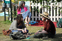 Hay on Wye. Friday 03 June 2016<br />People rest on the festival green at the Hay Festival, Hay on Wye, Wales, UK