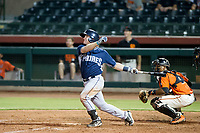 AZL Padres 2 first baseman Nick Feight (17) follows through on his swing against the AZL Giants on July 13, 2017 at Scottsdale Stadium in Scottsdale, Arizona. AZL Giants defeated the AZL Padres 2 11-3. (Zachary Lucy/Four Seam Images)