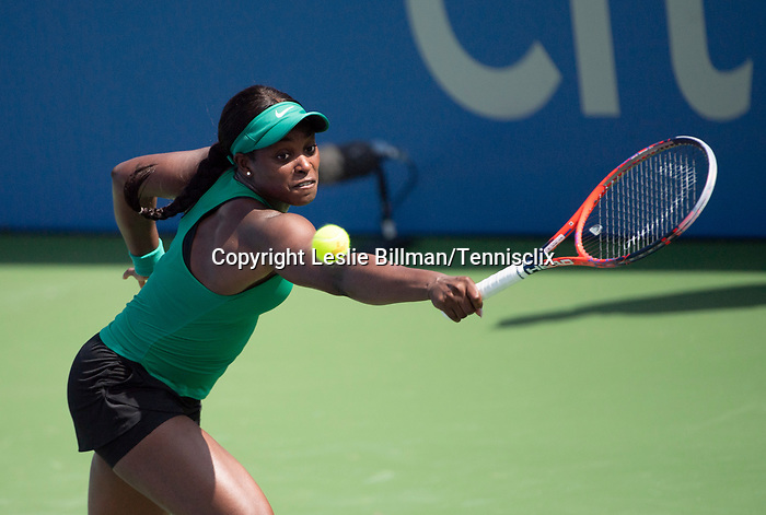 August 1,2018:   Sloane Stephens (USA) loses to Andrea Petkovic (GER) 2-6, 6-4, 6-2, at the CitiOpen being played at Rock Creek Park Tennis Center in Washington, DC, .  ©Leslie Billman/Tennisclix/CSM