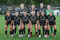 team picture Charleroi ( Manyima Stevelmans (34) , Hanne Hellinx (3) , Perrine Balant (9) , Estelle Dessilly (13) , goalkeeper Ambre Collet (1) and Melissa Tom (17) , Chrystal Lermusiaux (22) , Kristina Erman (4) , Stephanie Pirotte (20) , Julie Challe (12) , Alysson Duterne (14) ) before a female soccer game between Sporting Charleroi and SV Zulte-Waregem on the third matchday in the 2021 - 2022 season of Belgian Scooore Womens Super League , friday 3 September 2021 in Marcinelle , Belgium . PHOTO SPORTPIX | STIJN AUDOOREN
