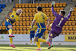 St Johnstone v Brechin City…10.10.20   McDiarmid Park  Betfred Cup<br />Lewis McMinn saves Stevie May's shot<br />Picture by Graeme Hart.<br />Copyright Perthshire Picture Agency<br />Tel: 01738 623350  Mobile: 07990 594431