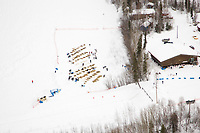 Aerial of teams resting at the Galena checkpoint corral on Saturday afternoon during Iditarod 2008