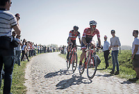 Jasper Stuyven (BEL/Trek-Segafredo) leading the race on sector 16 (Warlaing to Brillon) in a two-men break with Daniel Oss (ITA/BMC)<br /> <br /> 115th Paris-Roubaix 2017 (1.UWT)<br /> One Day Race: Compiègne › Roubaix (257km)