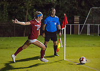 NWA Democrat-Gazette/BEN GOFF @NWABENGOFF<br /> Parker Goins, Arkansas forward, makes a corner kick in the first half vs Vanderbilt Thursday, Sept. 26, 2019, at Razorback Field in Fayetteville.
