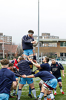 Lewis Wynne of London Scottish in the warm up during the Greene King IPA Championship match between Ealing Trailfinders and London Scottish Football Club at Castle Bar , West Ealing , England  on 19 January 2019. Photo by Carlton Myrie/PRiME Media Images