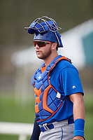 GCL Mets catcher Matthew Foley (98) during practice before a game against the GCL Cardinals on July 23, 2017 at Roger Dean Stadium Complex in Jupiter, Florida.  GCL Cardinals defeated the GCL Mets 5-3.  (Mike Janes/Four Seam Images)