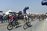 The start of Stage 3 The Silicon Oasis Stage of the Dubai Tour 2018 the Dubai Tour's 5th edition, running 180km from Skydive Dubai to Fujairah, Dubai, United Arab Emirates. 7th February 2018.<br /> Picture: LaPresse/Fabio Ferrari   Cyclefile<br /> <br /> <br /> All photos usage must carry mandatory copyright credit (© Cyclefile   LaPresse/Fabio Ferrari)