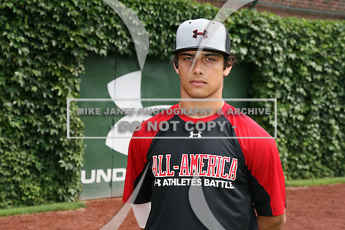 August 7, 2009:  Catcher Alex Lavisky (14) of the Baseball Factory team during the Under Armour All-America event at Wrigley Field in Chicago, Illinois.  (Copyright Mike Janes Photography)