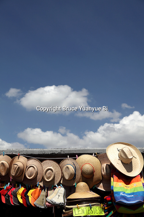 Straw hats for sale in giftshop. Mexico City. Mexico