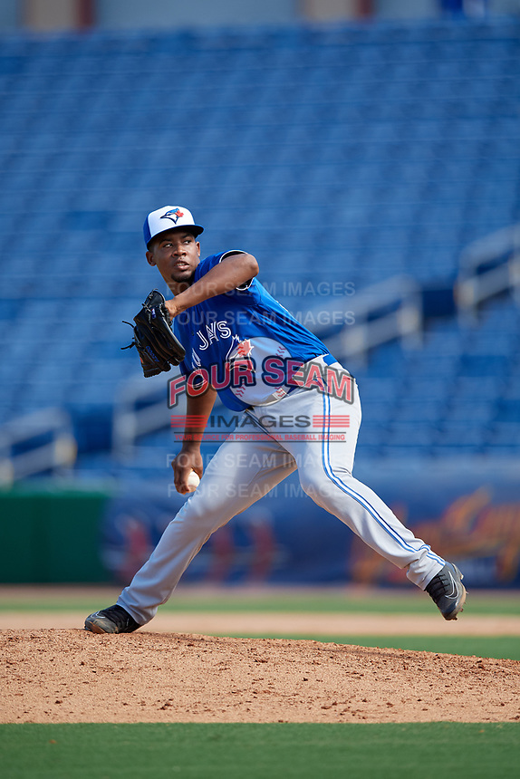 Toronto Blue Jays pitcher Juanfer Castro (32) during an Instructional League game against the Philadelphia Phillies on September 17, 2019 at Spectrum Field in Clearwater, Florida.  (Mike Janes/Four Seam Images)