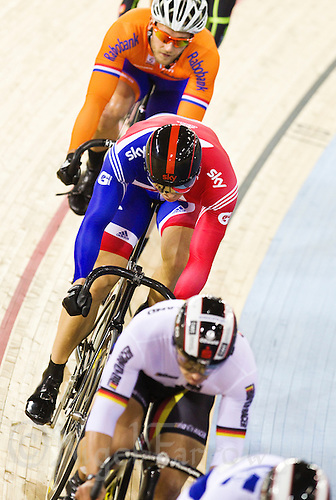 18 FEB 2012 - LONDON, GBR - Great Britain's Sir Chris Hoy stays in line during the Men's Keirin second round at the UCI Track Cycling World Cup, and London Prepares test event for the 2012 Olympic Games, in the Olympic Park Velodrome in Stratford, London, Great Britain  (PHOTO (C) 2012 NIGEL FARROW)