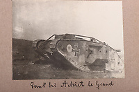 BNPS.co.uk (01202 558833)<br /> Pic: C&TAuctions/BNPS<br /> <br /> Pictured: A captured British tank repainted with the Iron Cross. <br /> <br /> Fascinating previously unseen World War One photos showing the conflict from the German perspective have come to light 103 years on.<br /> <br /> Major Hans Rudloff, a distinguished artillery officer, took hundreds of images of some of the major Western Front battles.<br /> <br /> There are scenes of destruction on the Verdun and at Cambrai, as well as snapshots of captured British soldiers on the Somme in the early days of the German Spring Offensive in March 1918.