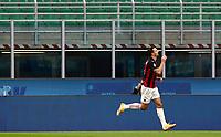 Calcio, Serie A: Inter Milano - AC Milan , Giuseppe Meazza (San Siro) stadium, in Milan, October 17, 2020.<br /> Milan's Zlatan Ibrahimovic celebrates after scoring during the Italian Serie A football match between Inter and Milan at Giuseppe Meazza (San Siro) stadium, October 17,  2020.<br /> UPDATE IMAGES PRESS/Isabella Bonotto