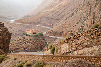 Dades Gorge, Morocco.  Small Hotel shortly after leaving the Gorge, heading north.