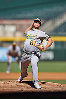 Oakland Athletics pitcher Dustin Hurlbutt (61) during an Instructional League game against the Arizona Diamondbacks on October 15, 2016 at Chase Field in Phoenix, Arizona.  (Mike Janes/Four Seam Images)
