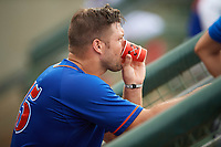 St. Lucie Mets left fielder Tim Tebow (15) takes a drink in the dugout during a game against the Florida Fire Frogs on July 23, 2017 at Osceola County Stadium in Kissimmee, Florida.  St. Lucie defeated Florida 3-2.  (Mike Janes/Four Seam Images)