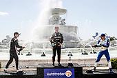 #2: Josef Newgarden, Team Penske Chevrolet, #5: Pato O'Ward, Arrow McLaren SP Chevrolet, #10: Alex Palou, Chip Ganassi Racing Honda, podium, champagne