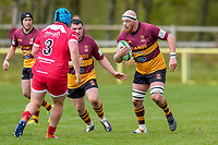 Charlie BECKETT (4) of Ampthill (right) during the Greene King IPA Championship match between Ampthill RUFC and Jersey Reds at Dillingham Park, Ampthill, England on 1 May 2021. Photo by David Horn.