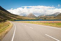 Road along Lake Pearson, Canterbury, New Zealand