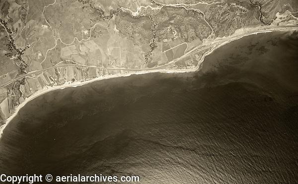 historical aerial photograph Malibu, California, 1947