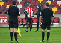 Ivan Toney of Brentford with the match ball after scoring three goals during Brentford vs Wycombe Wanderers, Sky Bet EFL Championship Football at the Brentford Community Stadium on 30th January 2021