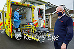 Members of the Civil Defence in Tralee doing a deep clean of their ambulance on Tuesday. Front: Tom Brosnan (Civil Defence Officer). Back l to r: Paul Baynham and Arron Williams