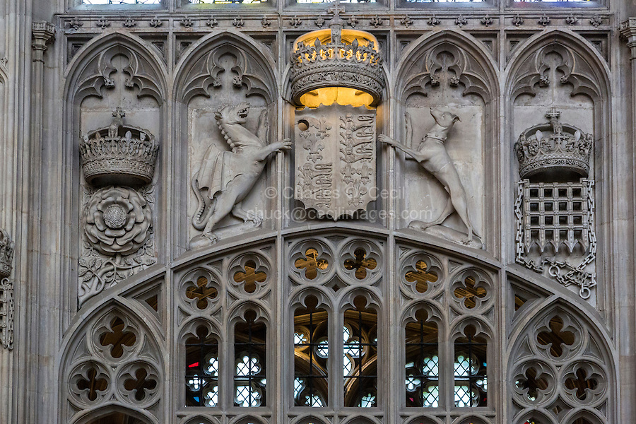 UK, England, Cambridge.  King's College Chapel,  Crown and Tudor Rose, Welsh Dragon, Greyhound, French Crown over Portcullis.