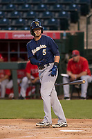 Milwaukee Brewers second baseman Shane Opitz (5) during a Minor League Spring Training game against the Los Angeles Angels at Tempe Diablo Stadium on March 29, 2018 in Tempe, Arizona. (Zachary Lucy/Four Seam Images)