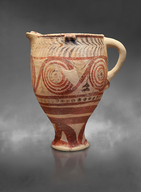 Cycladic spouted cup with floral and net pattern.   Cycladic (1650-1450 BC) , Phylakopi III, Melos. National Archaeological Museum Athens. Cat no 5755.   Gray background.<br /> <br /> <br /> Ceramic shapes and painted style are heavily influenced by Minoan styles during this period. Dark floral and spiral patterns are painted over a lighted backgound with wavy bands.