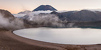 Blue Lake with Mt. Ngauruhoe at sunset, Tongariro National Park, UNESCO World Heritage Area, Central Plateau, North Island, New Zealand, NZ