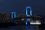 The Rainbow Bridge is lit up in blue in Tokyo, Japan on June 2, 2020, as a show of gratitude and support for medical personnel fighting the novel coronavirus amid the virus pandemic. (Photo by Hiroyuki Ozawa/AFLO)