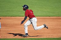 Mahoning Valley Scrappers center fielder Gabriel Mejia (1) attempting to steal second during a game against the Auburn Doubledays on July 17, 2016 at Falcon Park in Auburn, New York.  Mahoning Valley defeated Auburn 3-2.  (Mike Janes/Four Seam Images)