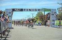 Hamish Bond leads the peleton during stage three of the NZ Cycle Classic UCI Oceania Tour in Wairarapa, New Zealand on Tuesday, 24 January 2017. Photo: Dave Lintott / lintottphoto.co.nz