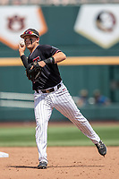 Texas Tech Red Raiders second baseman Brian Klein (5) makes a throw to first base during Game 1 of the NCAA College World Series against the Michigan Wolverines on June 15, 2019 at TD Ameritrade Park in Omaha, Nebraska. Michigan defeated Texas Tech 5-3. (Andrew Woolley/Four Seam Images)