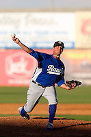 Jon Michael Redding #21 of the Rancho Cucamonga Quakes pitches against the Lancaster JetHawks at The Hanger on August 25, 2013 in Lancaster, California. Lancaster defeated Rancho Cucamonga, 7-1. (Larry Goren/Four Seam Images)