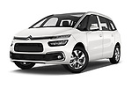 Stock pictures of low aggressive front three quarter view of a 2018 Citroen Grand C4 Spacetourer Feel 5 Door MPV