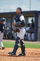 GCL Yankees West catcher David Vergel (5) during the second game of a doubleheader against the GCL Yankees East on July 19, 2017 at the Yankees Minor League Complex in Tampa, Florida.  GCL Yankees West defeated the GCL Yankees East 3-1.  (Mike Janes/Four Seam Images)