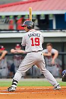 Edison Sanchez (19) of the Danville Braves at bat against the Burlington Royals at Burlington Athletic Park on July 18, 2012 in Burlington, North Carolina.  The Royals defeated the Braves 4-3 in 11 innings.  (Brian Westerholt/Four Seam Images)