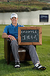 """Alex Noren was asked by Ballantine's at the BMW Masters to describe how he stays true to himself; his answer is shown. Ballantine's, who recently announced their new global marketing campaign, """"Stay True, Leave An Impression"""", is a sponsor at the BMW Masters, which takes place from the 24-27 October at Lake Malaren Golf Club in Shanghai.  Photo by Andy Jones / The Power of Sport Images for Ballantines."""