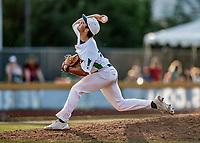 20 June 2021: Vermont Lake Monsters pitcher M.T. Morrissey, from Portsmouth, RI, on the mound against the Westfield Starfires at Centennial Field in Burlington, Vermont. The Lake Monsters fell to the Starfires 10-2 at Centennial Field, in Burlington, Vermont. Mandatory Credit: Ed Wolfstein Photo *** RAW (NEF) Image File Available ***