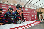 Canyon-Sram team riders at sign on before the start of the Strade Bianche Women Elite NamedSport race running 136km from Siena to Siena, Italy. 3rd March 2018.<br /> Picture: LaPresse/Massimo Paolone | Cyclefile<br /> <br /> <br /> All photos usage must carry mandatory copyright credit (© Cyclefile | LaPresse/Massimo Paolone)
