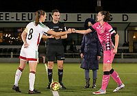 Lenie Onzia (8 OHL) gives Noemie Fourdin (11 Charleroi) a fist bump at the start of a female soccer game between Oud Heverlee Leuven and Sporting de Charleroi on the seventh matchday of the 2020 - 2021 season of Belgian Womens Super League , sunday 15 th of November 2020  in Heverlee , Belgium . PHOTO SPORTPIX.BE | SPP | SEVIL OKTEM