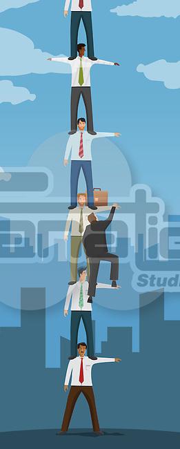 Businessman climbing ladder made of human