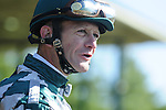 18 October 2009: Jockey Calvin Borel chats with an outrider before the 4th race at Keeneland.