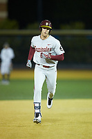Jackson Lueck (2) of the Florida State Seminoles rounds the bases after hitting a home run against the Wake Forest Demon Deacons at David F. Couch Ballpark on March 9, 2018 in  Winston-Salem, North Carolina.  The Seminoles defeated the Demon Deacons 7-3.  (Brian Westerholt/Four Seam Images)