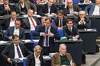 """Debatte im Deutschen Bundestag am Donnerstag den 19. April 2018 zum Antrag der rechtsnationalistischen """"Alternative fuer Deutschland"""", AfD, zur Einsetzung einer Enquete-Kommission: Direkte Demokratie.<br /> Im Bild: Bernd Baumann, parlamentarischer Geschaeftsfuehrer der AfD bei einem Zwischenruf waehrend der Debatte.<br /> 19.1.2018, Berlin<br /> Copyright: Christian-Ditsch.de<br /> [Inhaltsveraendernde Manipulation des Fotos nur nach ausdruecklicher Genehmigung des Fotografen. Vereinbarungen ueber Abtretung von Persoenlichkeitsrechten/Model Release der abgebildeten Person/Personen liegen nicht vor. NO MODEL RELEASE! Nur fuer Redaktionelle Zwecke. Don't publish without copyright Christian-Ditsch.de, Veroeffentlichung nur mit Fotografennennung, sowie gegen Honorar, MwSt. und Beleg. Konto: I N G - D i B a, IBAN DE58500105175400192269, BIC INGDDEFFXXX, Kontakt: post@christian-ditsch.de<br /> Bei der Bearbeitung der Dateiinformationen darf die Urheberkennzeichnung in den EXIF- und  IPTC-Daten nicht entfernt werden, diese sind in digitalen Medien nach §95c UrhG rechtlich geschuetzt. Der Urhebervermerk wird gemaess §13 UrhG verlangt.]"""