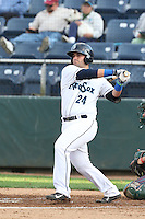 James Alfonso #24 of the Everett AquaSox bats against the Boise Hawks at Everett Memorial Stadium on July 22, 2014 in Everett, Washington. Everett defeated Boise, 6-0. (Larry Goren/Four Seam Images)