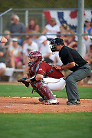Boston College Eagles catcher Jake Goodreau (32) and umpire Zach Tieche await the pitch during a game against the Minnesota Golden Gophers on February 23, 2018 at North Charlotte Regional Park in Port Charlotte, Florida.  Minnesota defeated Boston College 14-1.  (Mike Janes/Four Seam Images)